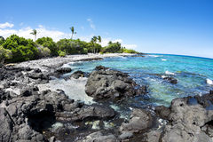 Rocky tropical beach in Hawaii royalty free stock photos