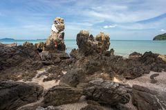 Rocky tropical coastline Royalty Free Stock Images