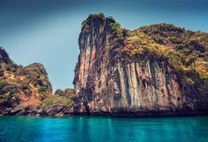 Rocky tropical island. In a blue clear sea. Thailand Stock Images