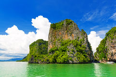 Rocky tropical landscape in the Pang Nga bay Stock Photos