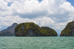 Rocky tropical landscape in the Pang Nga bay Royalty Free Stock Images