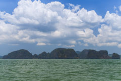 Rocky tropical landscape in the Pang Nga bay Royalty Free Stock Photo
