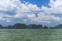 Rocky tropical landscape in the Pang Nga bay Stock Image