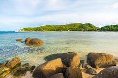 Rocky tropical sea beach Royalty Free Stock Photos