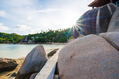 Rocky tropical sea beach Stock Images