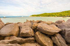 Rocky tropical sea beach Royalty Free Stock Images