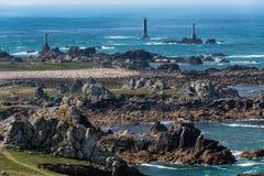 Rocky Ushant island coastline Stock Images