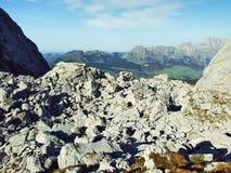 Rocky Valley Frumseltal on Churfirsten Mountain Range. Canton of St. Gallen, Switzerland royalty free stock image