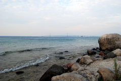 Rocky view of the Mackinac Bridge Royalty Free Stock Photography