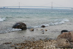 Rocky view of the Mackinac Bridge. Along the Straits of Mackinac Royalty Free Stock Image