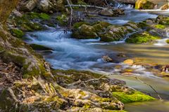 Rocky View of a Wild Mountain Trout Stream. A rocky view of a wild mountain trout stream located in the Jefferson National Forest, Virginia, USA Royalty Free Stock Images