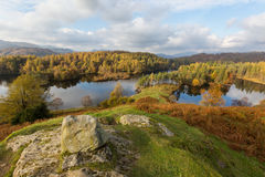 Rocky viewpoint overlooking Tarn Hows in The Lake District, UK Royalty Free Stock Photos