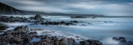 Rocky Vista with view to Rame Head, Whitsand Bay, South East Cor stock photos