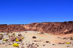 Rocky volcanic landscape of the caldera of Teide National Park T. Enerife Spain Royalty Free Stock Images