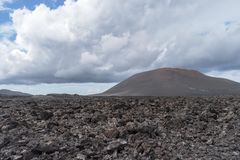 Desert stone volcanic landscape in Lanzarote, Canary Islands stock photo