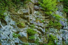 Rocky Wall Along the Blue Ridge Parkway, Virginia, USA. Rocky wall cutout the side of the Blue Ridge Mountains during the construction of the Blue Ridge Parkway stock photos
