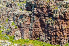 Rocky Wall. Detail of a rocky wall specific for the Brittany coastline in North of France Stock Photography