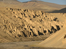Rocky Walls,Red Hills,Ladakh,India. stock photos