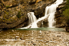 Rocky Waterfall. Smooth Waterfall in a rocky canyon Royalty Free Stock Photos