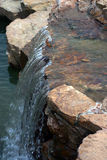 Rocky waterfall. Side view of small, rocky waterfall on river Royalty Free Stock Photo