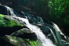 Rocky Waterfall in Lush Forest royalty free stock photo