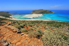 Rocky way down to Balos bay paradise Stock Images