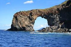 Rocky window, island Salina, Italy Royalty Free Stock Image