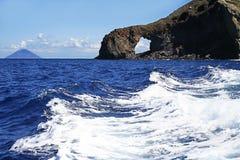 Rocky window, island Salina, Italy Stock Photo