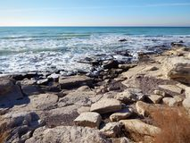 Winter coast of the Caspian Sea. Rocky winter coast of the Caspian Sea stock images