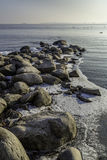 Rocky winter shore Royalty Free Stock Images