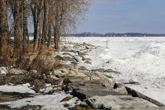 Rocky Winter Shoreline Stock Photography