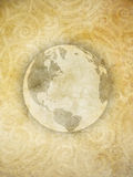 Rocky World Background. Artistic depiction of our globe with a decorative stone pattern background Stock Photo