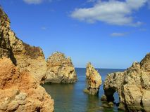 Rocky zone in Algarve, Portugal. Rocky zone called Tip the very interesting Mercy for its grottos and point of view on the very interesting sea. In Lagos stock image
