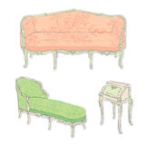 Rococo antique furniture stickers Stock Photos
