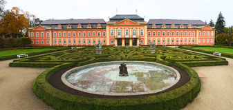 Rococo chateau panorama. The rococo chateau with park in Dobris, Czech Republic stock images