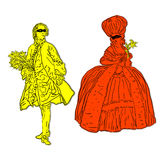 Rococo costumes. Antique rococo costumes stickers on masked silhouettes, isolated on white Stock Photo