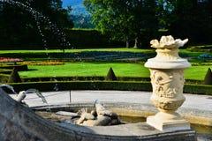 Rococo fountain. Fountain inside the old rococo garden of the castle of Cesky Krumlov Royalty Free Stock Photos