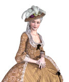 Rococo Lady Portrait. Portrait of an elegent lady wearing an 18th century Rococo style gown - 3d render Stock Images