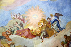 Rococo old religious shows painted on the ceiling of the church with a trompe-l`œilfresco Stock Photo