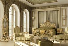 Rococo slaapkamer van de luxe. Royalty-vrije Stock Afbeelding