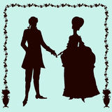 Rococo style historic fashion man and woman silhouettes Stock Image