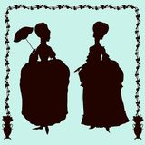 Rococo style historic fashion women silhouettes Stock Photo