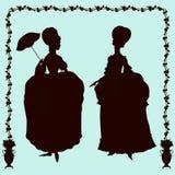 Rococo style historic fashion women silhouettes Stock Photo