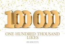 Rocznica 100000 lub wydarzenie złota 3d liczby ilustracja wektor