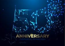Rocznica 50 Poligonalny Rocznicowy powitanie sztandar Świętować 50th rocznicowego wydarzenia przyjęcia tło karty fajerwerki kolor ilustracja wektor