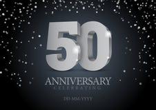 Rocznica 50 srebne 3d liczby ilustracja wektor