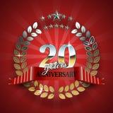 Rocznica 20th złocisty wianek z czerwonym faborkiem Zdjęcia Royalty Free
