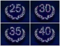 ROCZNICOWE gwiazdy liczba 25 30 35 40 rok Zdjęcia Royalty Free