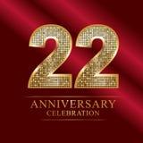 Rocznicowy świętowanie logotyp 22nd rocznicowy logo dyskotek liczby Obrazy Stock