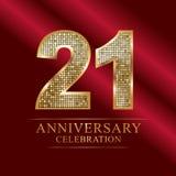 Rocznicowy świętowanie logotyp 21st rocznicowy logo dyskotek liczby Zdjęcie Royalty Free